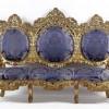 Canapea sculptată lemn auriu şi tapiţerie din mătase #238