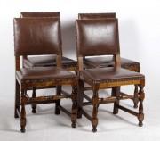 Patru scaune de nuc cu piele #289
