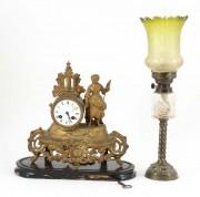 Pendul cupru și lampă veche de cupru #181322